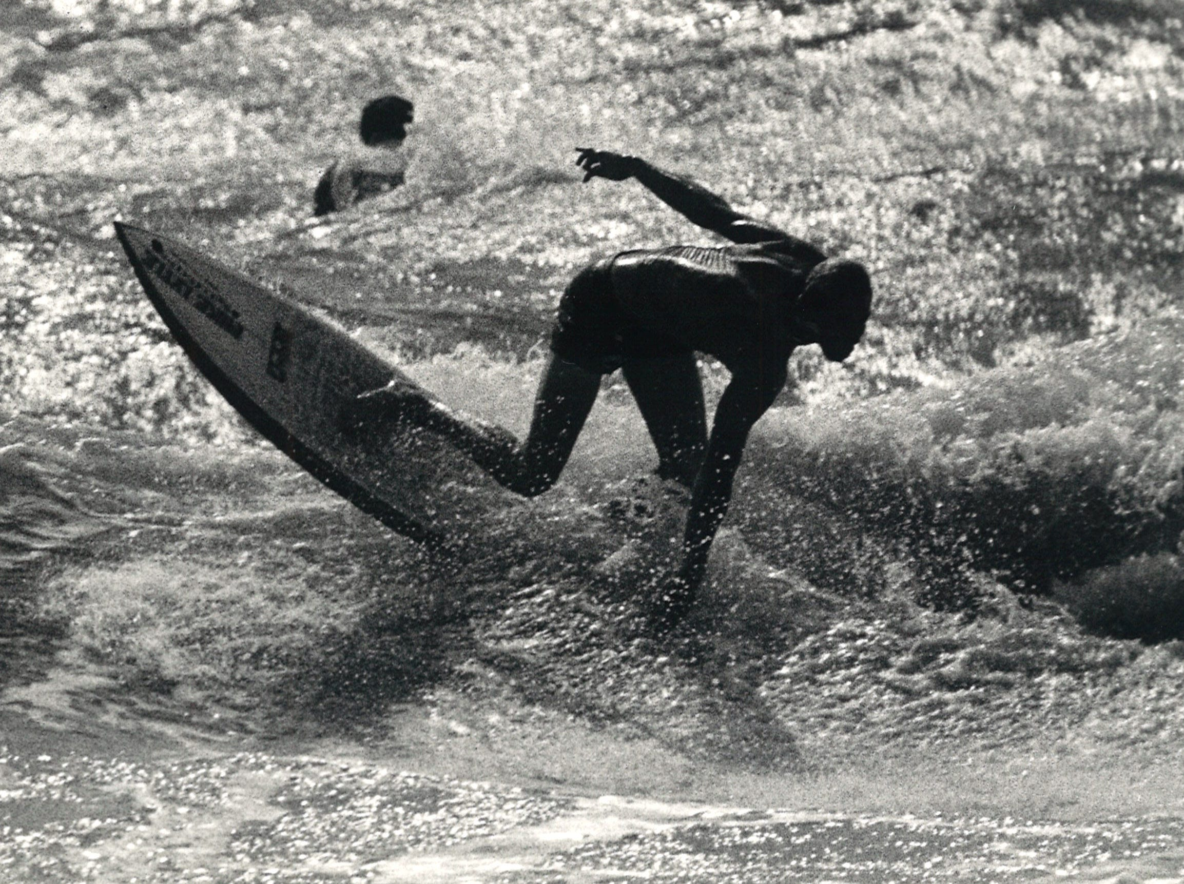 A surfer whipped through a radical cutback during the Off Shore Texas Pro Am Surfing Classic at J.P. Luby Surf Park in Corpus Christi on April 4, 1985.