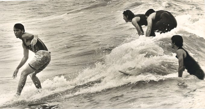 Surfers in Port Aransas in March 1970.