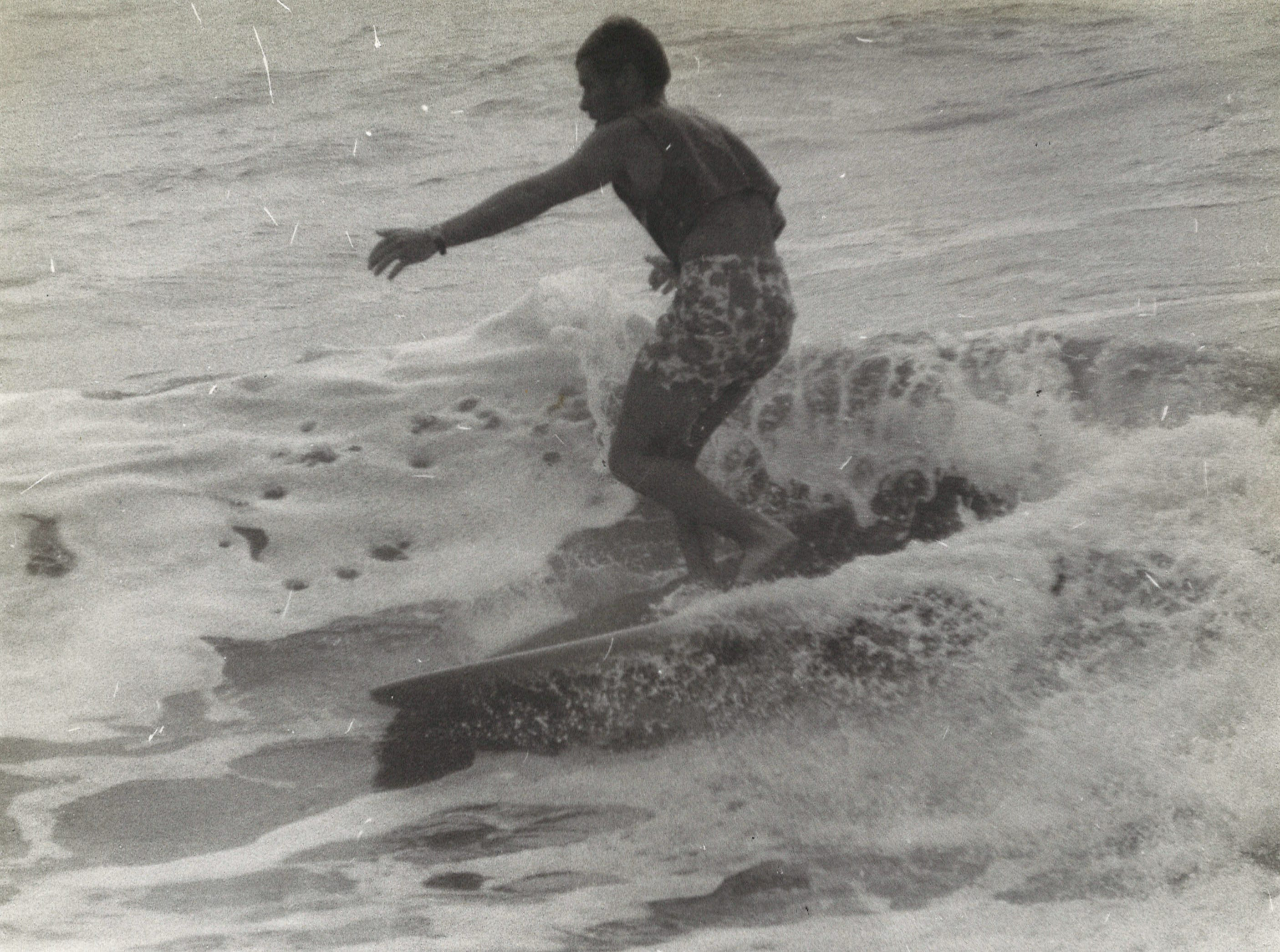 An unidentified surfer in Corpus Christi in April 1968.