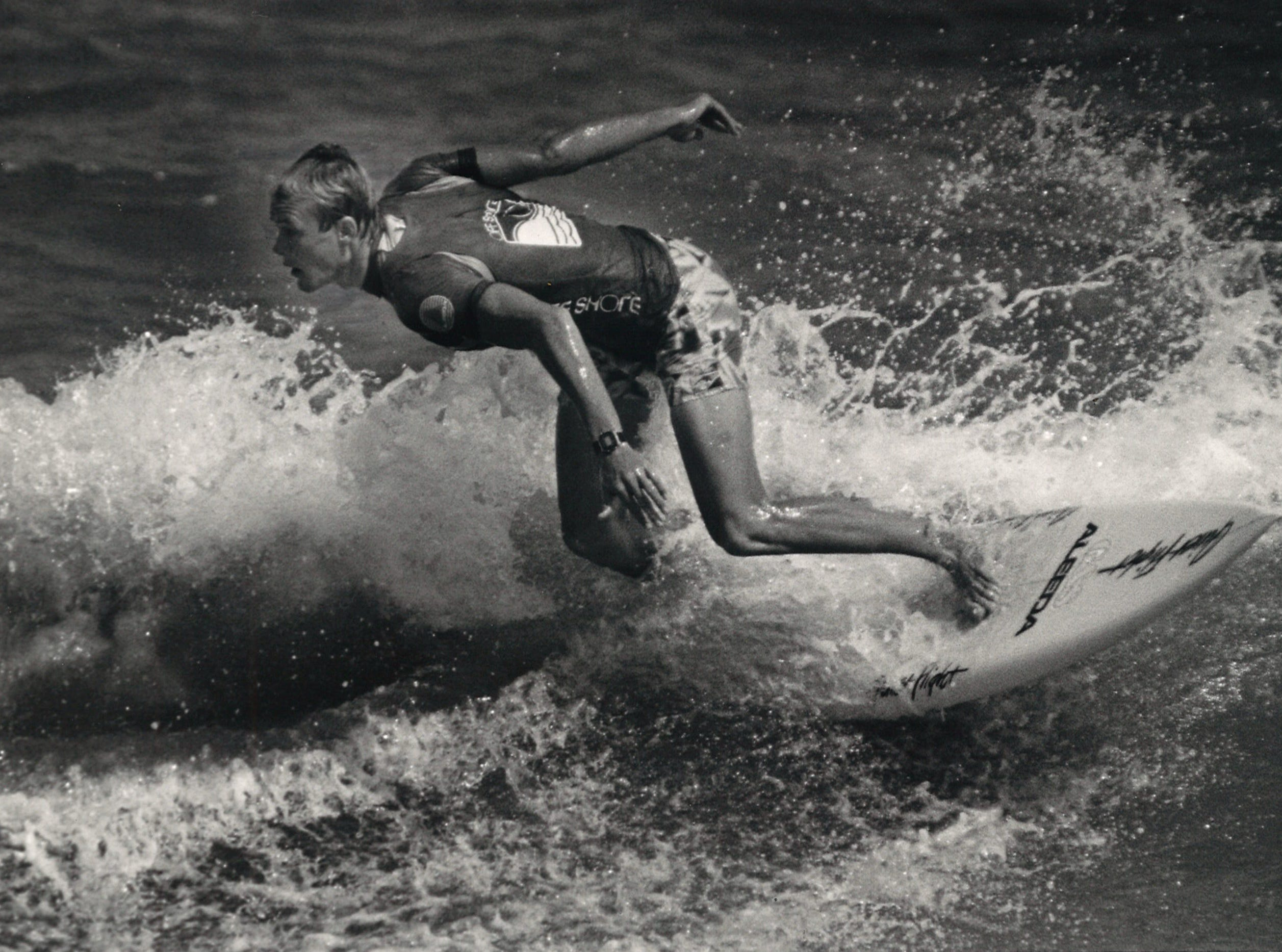 Pro surfer Rich Rudolph of Cocoa Beach, Florida cuts back on a wave during the final heat of the 4th annual Off Shore/Raisins Texas Pro Am Surfing Classic in April 1987. Rudolph defeated Matt Kechele, also of Cocoa Beach.