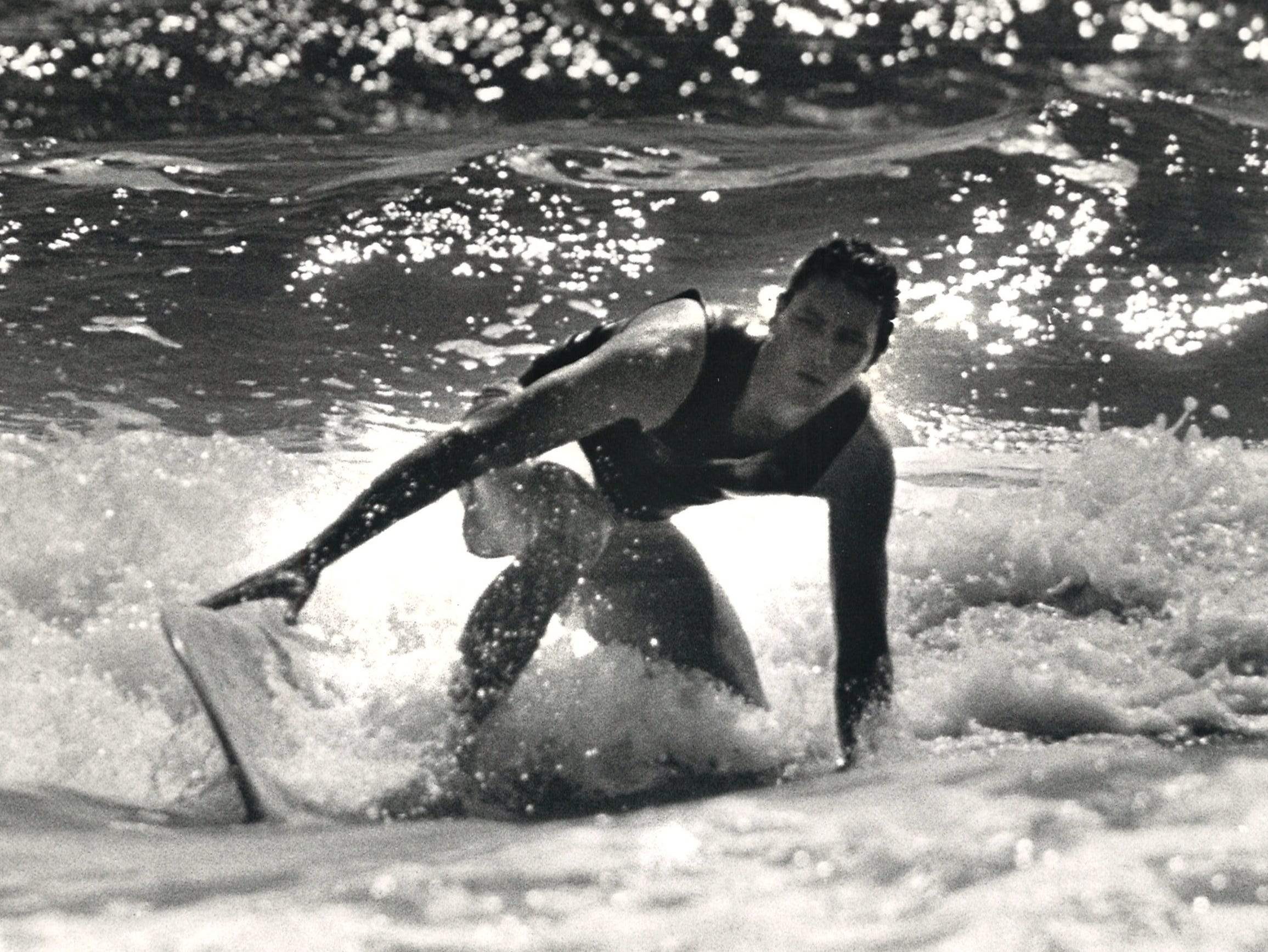 One of the contestants in the Off Shore/Raisins Texas Pro Am Surfing Classic on March 29, 1986