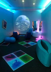 The sensory room at Lehigh Valley International Airport. The Mancini family was instrumental in helping the airport design it.
