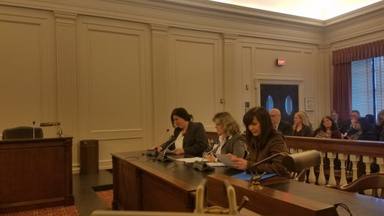 Parent advocates (from left) Melanie McGackin, Lisa Parles and Donna Icovino testify before the Assembly Human Services Committee in Trenton Monday. The women described their experiences as mothers and advocates for people with developmental or intellectual disabilities and mental illnesses.