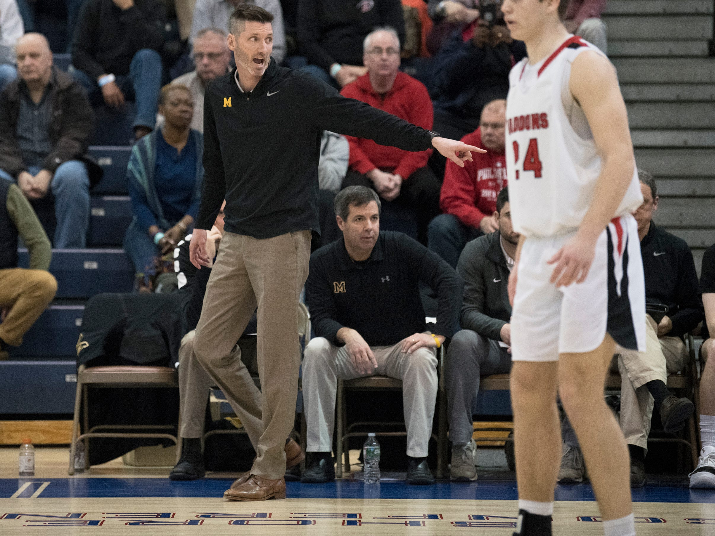 Moorestown High School's boys basketball coach Shawn Anstey instructs his players  during the boys basketball Tournament of Champions quarterfinal game between Moorestown and Haddonfield played at Toms River North High School on Wednesday, March 13, 2019.   Moorestown defeated Haddonfield, 60-59.
