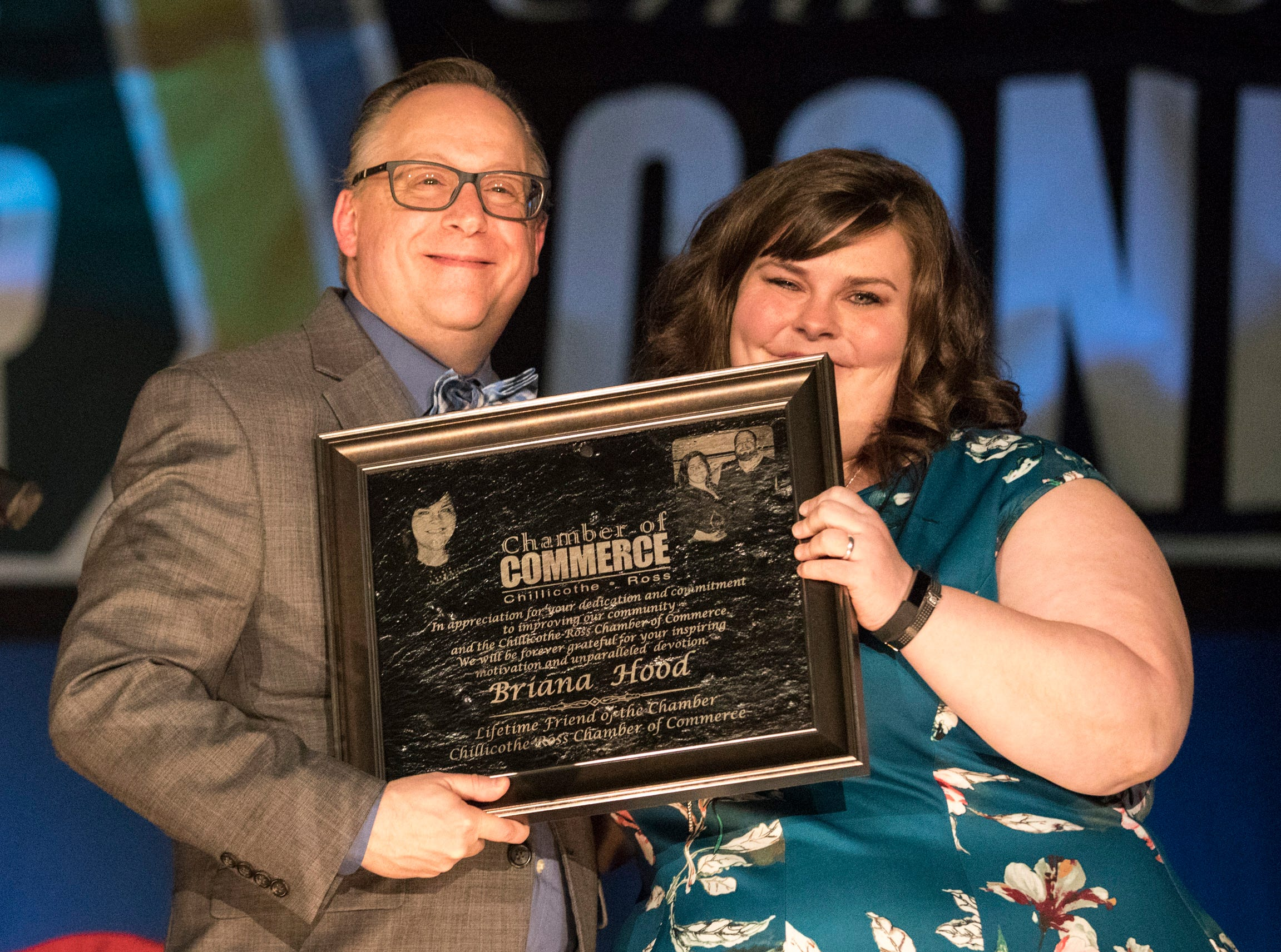 Briana Hood is honored for her work with the Chillicothe and Ross County Chamber of Commerce on March 12, 2019.