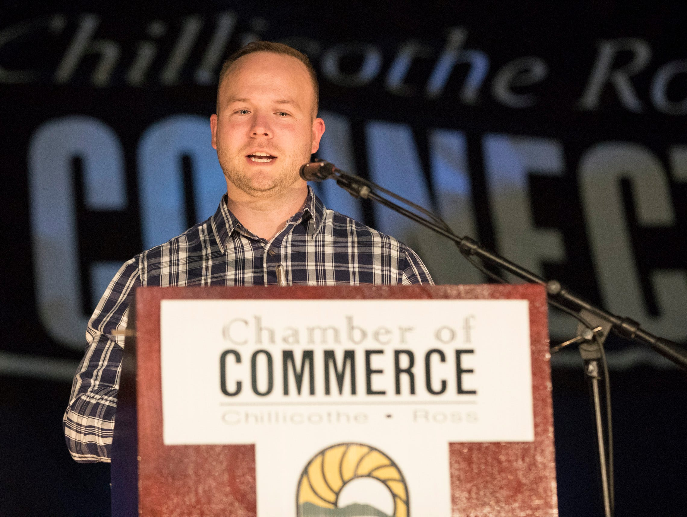 Ben Daughters received the Young Professional of the Year award at the 2019 Chillicothe and Ross County Chamber of Commerce annual meeting on March 12, 2019.