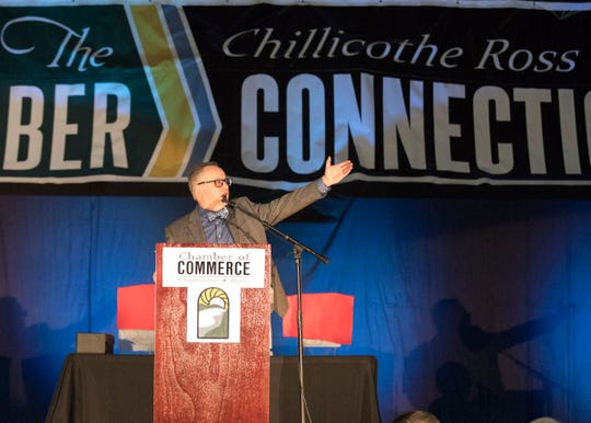 Chillicothe and Ross County Chamber of Commerce President and CEO Mike Throne welcomes everyone to the 2019 Chillicothe and Ross County Chamber of Commerce annual meeting on March 12, 2019.