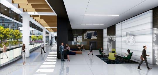 Interior rendering of Fifth Third's planned headquarters atrium.