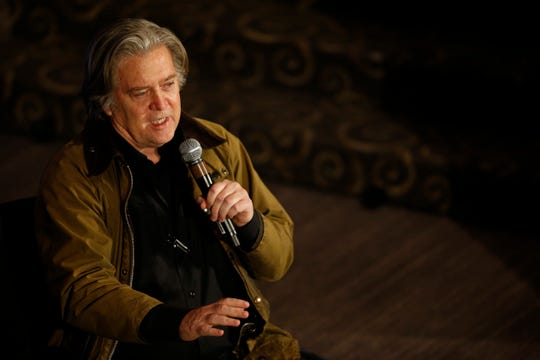 """Former White House Chief Strategist Steve Bannon speaks during a """"We Build The Wall"""" town hall at the Netherland Hotel in downtown Cincinnati on Tuesday, March 12, 2019."""