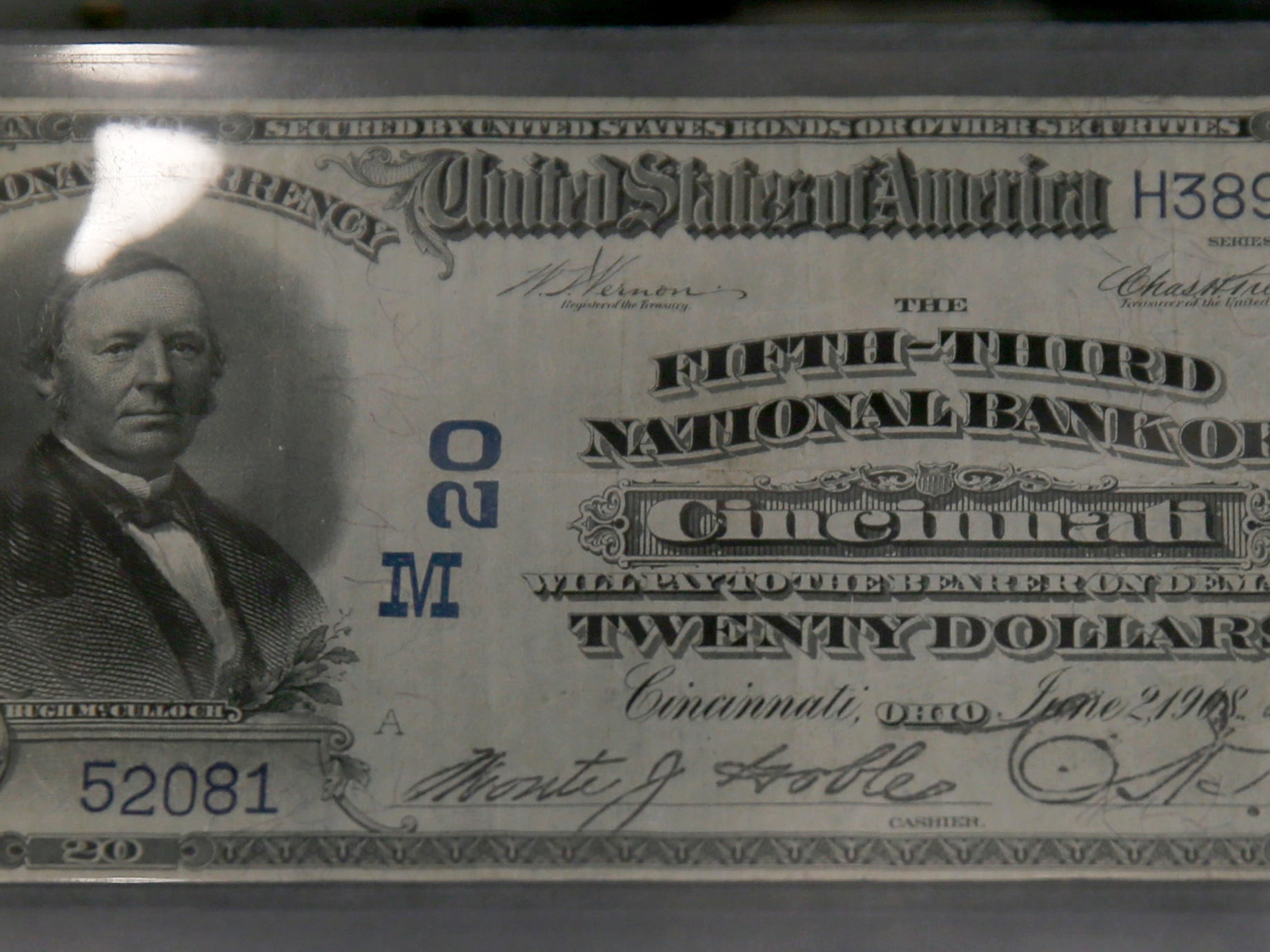 Fifth-Third National banknote from 1908, printed after the 1907 Bankers' Panic. National banknotes like these were hand-signed by the banks' president and cashier. These notes are from Series 1902. Series numbers on currency are not always indicative of the year the notes were printed. Fifth Third Bank opened a museum on Wednesday, March 13, 2019, at headquarters that chronicles the people, places, and events that built the bank. The museum will be open to the public Tuesday through Friday, 10 a.m. to 4 p.m., features various artifacts as well as rotating exhibits.