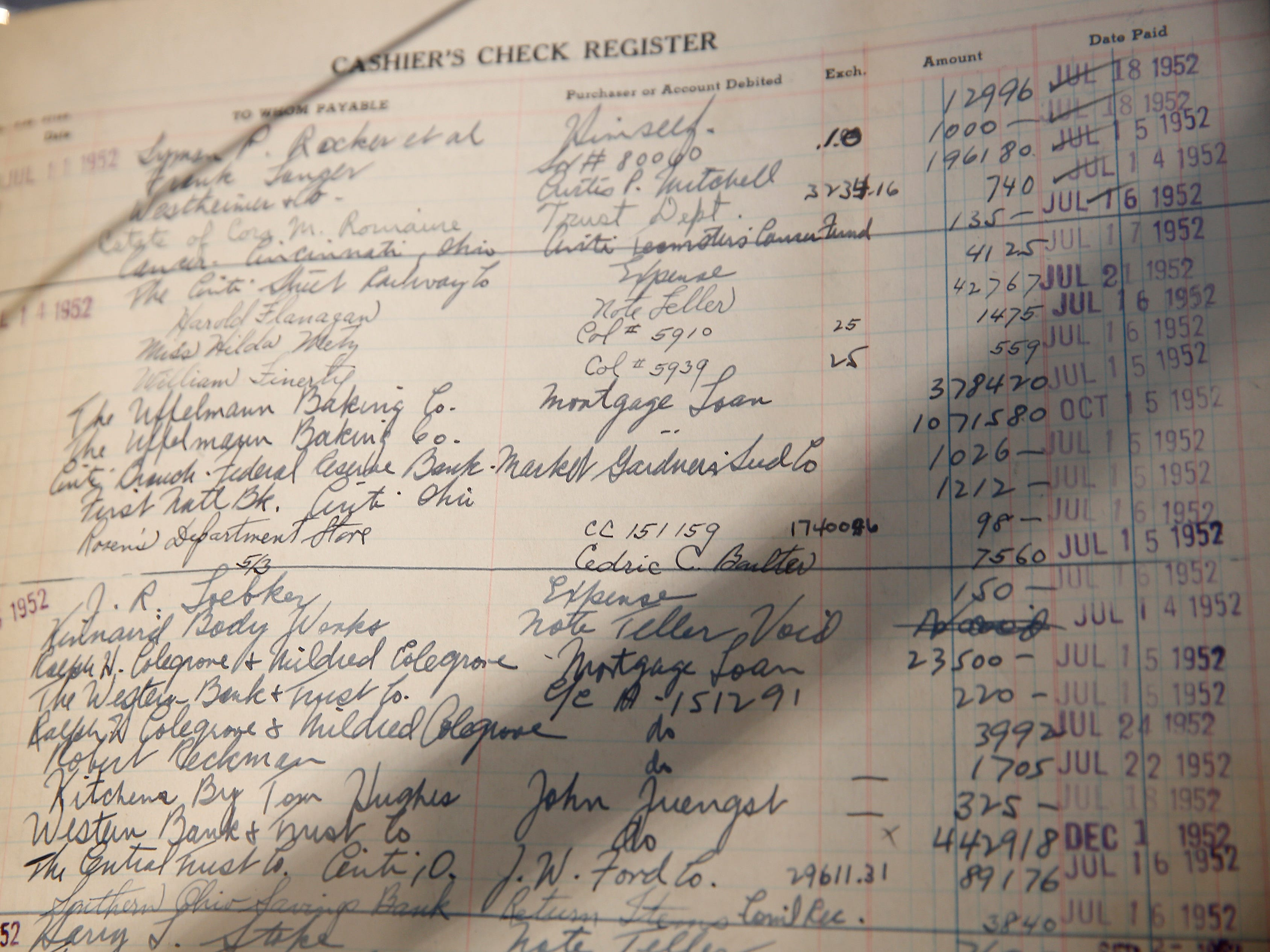 Fifth Third Bank museum opened Wednesday, March 13, 2019 their headquarters at Fountain Square. This cashier's check register ledger was used for bookkeeping and accounting purposed through the early 1960's. This ledger is from The Western German Bank that was located on Vine Street. 