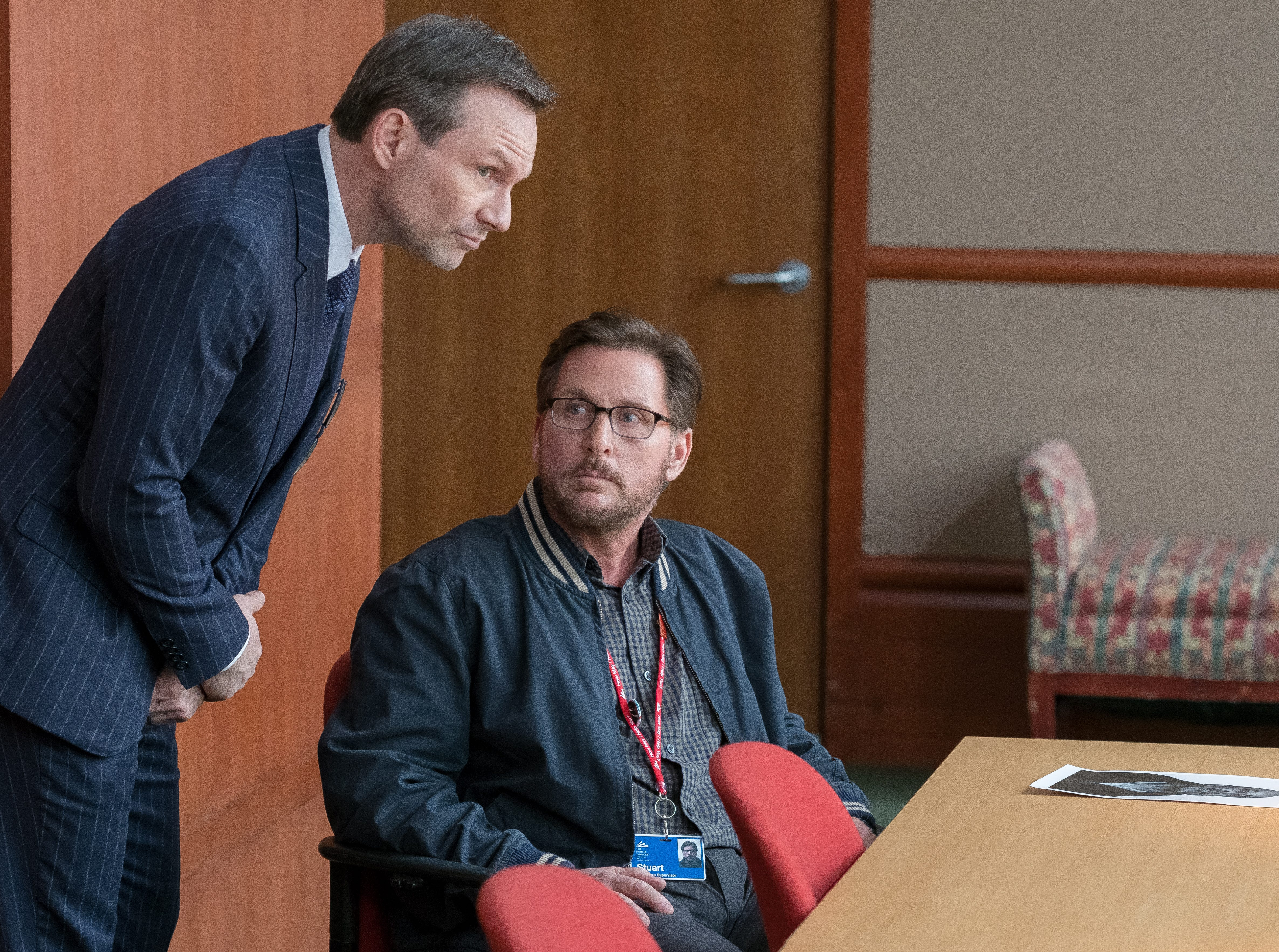 "Christian Slater, left, as Josh Davis and Emilio Estevez as Stuart Goodson in Universal Pictures Content Group's drama ""The Public."