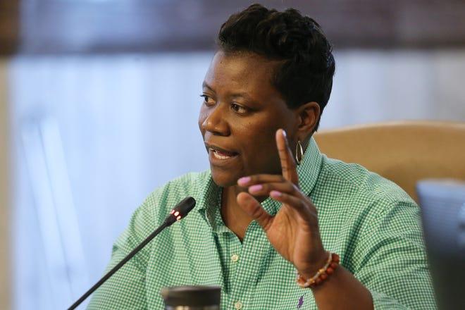 Cincinnati City Councilmember Tamaya Dennard addresses the body, Wednesday, March 13, 2019, in council chambers at Cincinnati City Hall.