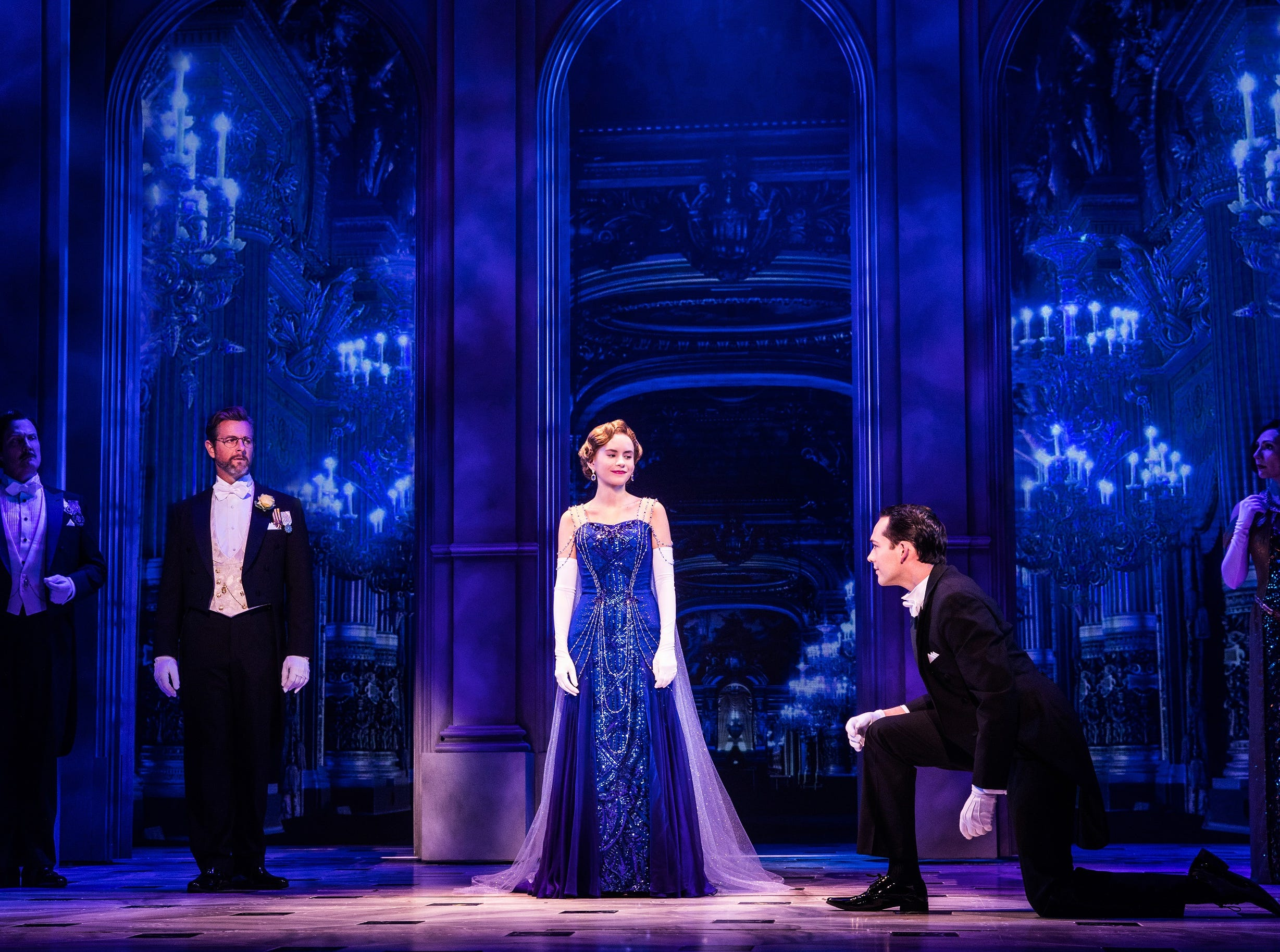 """Lila Coogan (C) plays the title role in the national tour of """"Anastasia,"""" which was part of the 2019-2020 subscription season announced Thursday by Broadway in Cincinnati."""