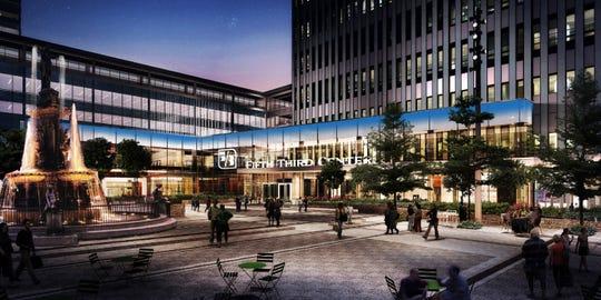 Exterior rendering of Fifth Third's planned headquarters atrium.