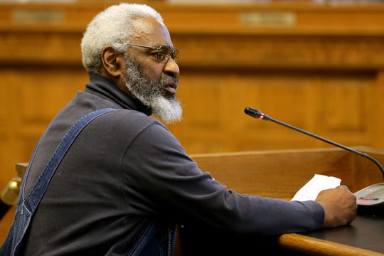 "Amos Robinson, of College Hill, speaks to council about the text-message ""Gang of Five"" texts, Wednesday, March 13, 2019, in council chambers at Cincinnati City Hall."