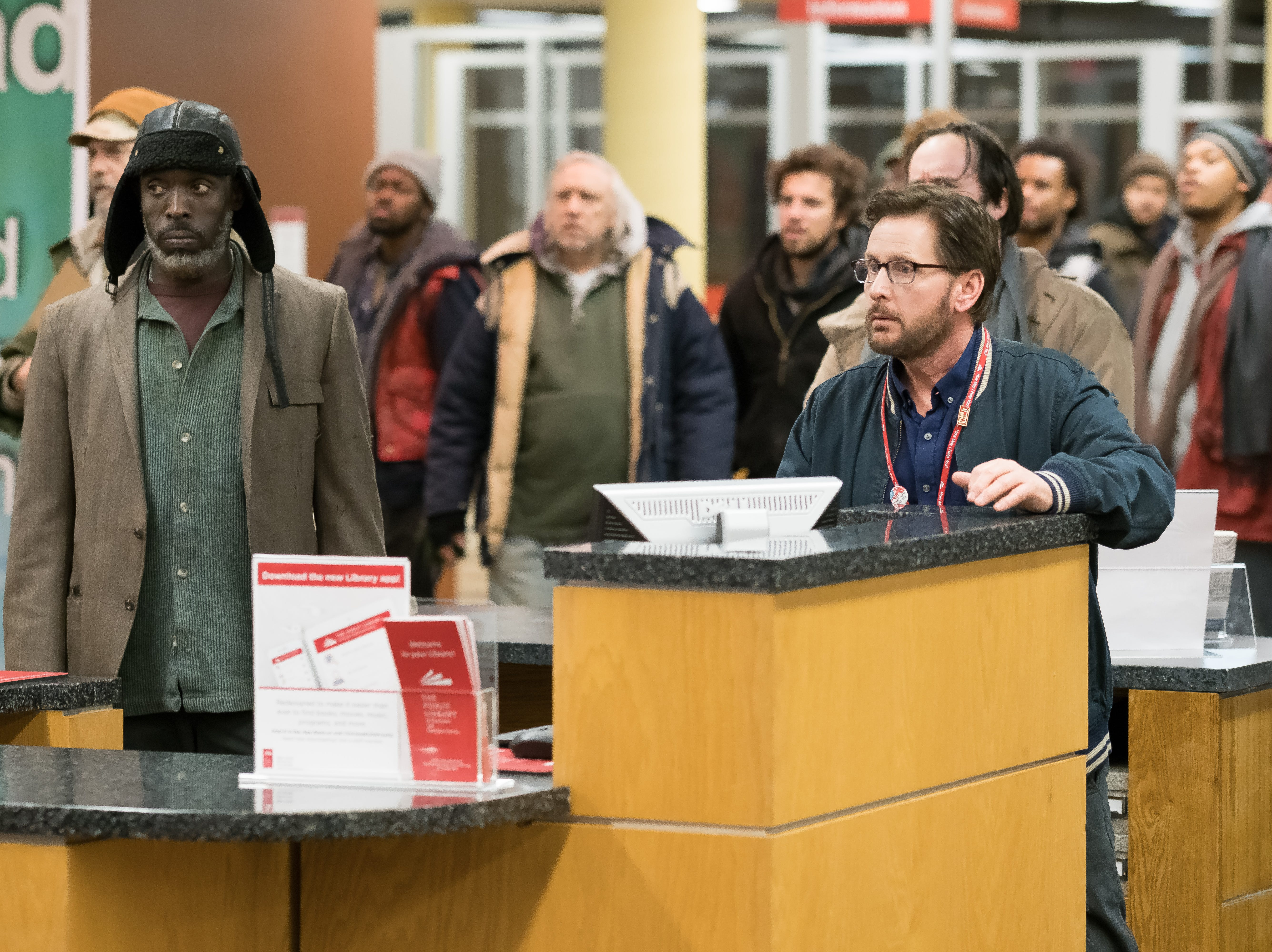"Michael Kenneth Williams as Jackson and Emilio Estevez as Stuart Goodson in Universal Pictures Content Group's drama ""The Public."""