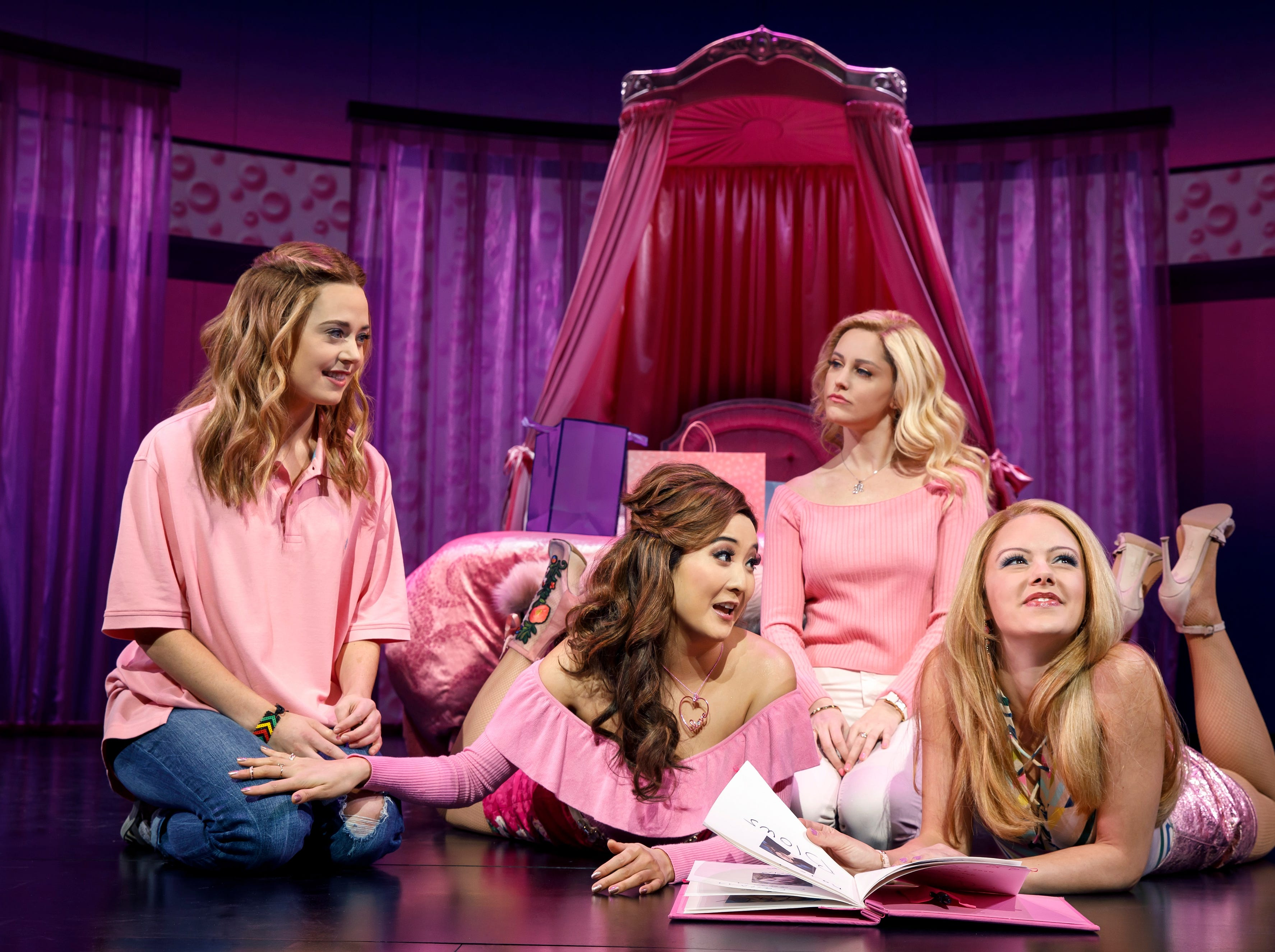 """Sassy, flashy and wonderfully entertaining, Tina Fey's """"Mean Girls"""" film is now a Broadway musical. A touring production will be at the Aronoff Center as part of the Broadway in Cincinnati 2019-2020 season. Seen here are (from L) Erika Henningsen, Ashley Park, Taylor Louderman and Kate Rockwell."""