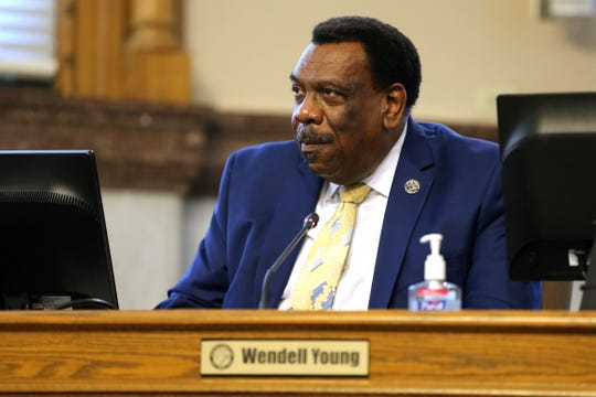 Cincinnati City Councilmember Wendell Young listens to proceedings, Wednesday, March 13, 2019, in council chambers at Cincinnati City Hall.