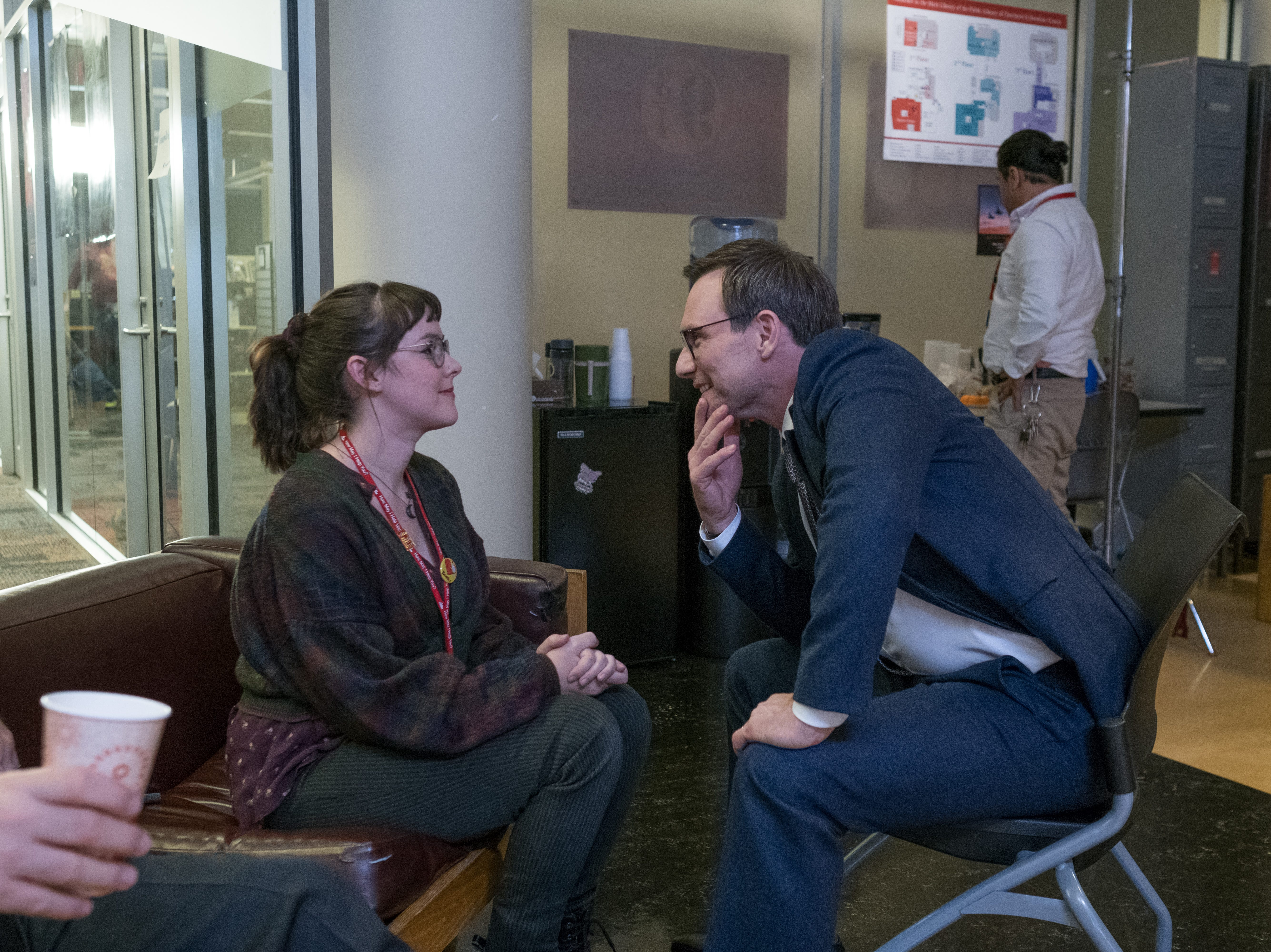 "Jena Malone, left, as Myra and Christian Slater as Josh Davis in Universal Pictures Content Group's drama ""The Public."""