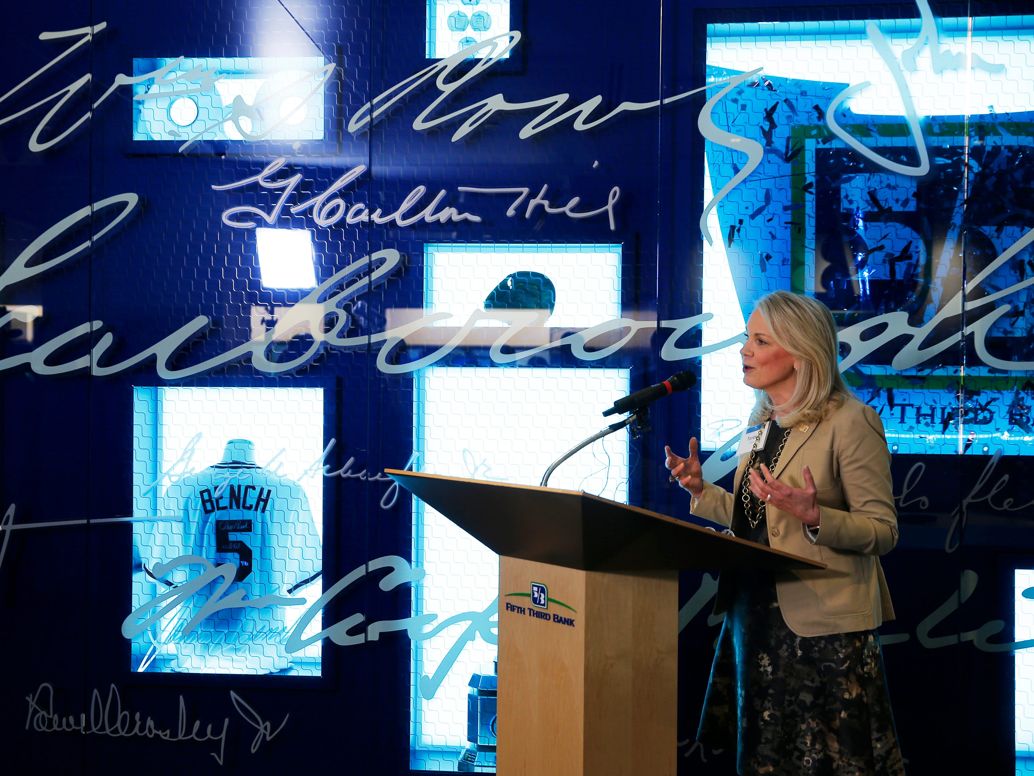 Teresa Tanner, chief administrative officer of Fifth Third Bank speaks at the bank's new museum that opened Wednesday, March 13, 2019 at headquarters on Fountain Square.