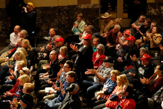 "The crowd applauded Kansas Secretary of State and Former White House Chief Strategist Steve Bannon during a ""We Build The Wall"" town hall at the Netherland Hotel in downtown Cincinnati on Tuesday, March 12, 2019."