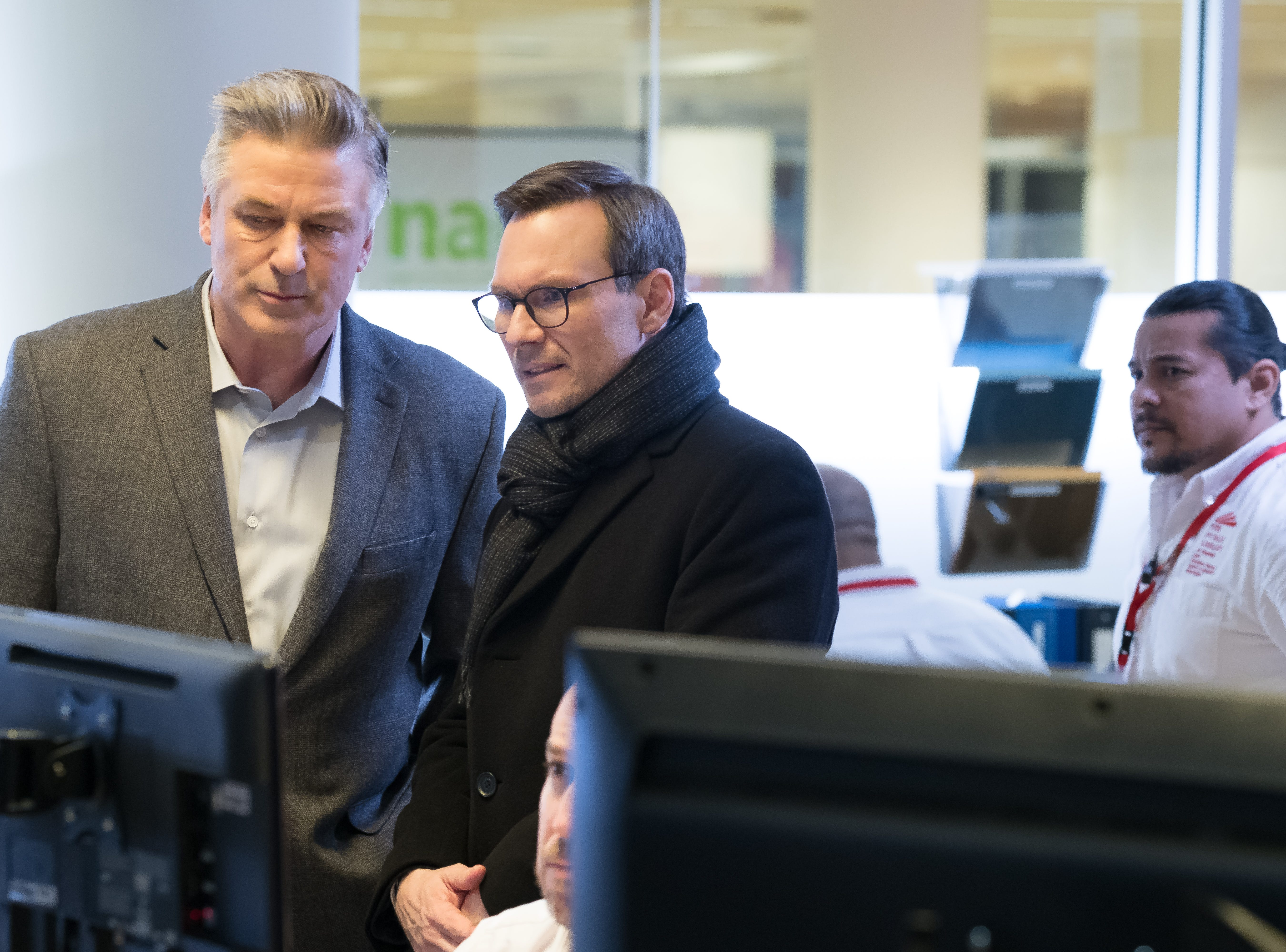 "Alec Baldwin, left, as Detective Bill Ramstead and Emilio Estevez as Stuart Goodson in Universal Pictures Content Group's drama ""The Public."""