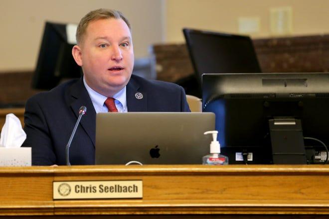 Cincinnati City Councilmember Chris Seelbach addresses council, Wednesday, March 13, 2019, in council chambers at Cincinnati City Hall.