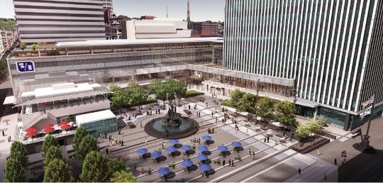 Aerial exterior rendering of Fifth Third's planned headquarters atrium.