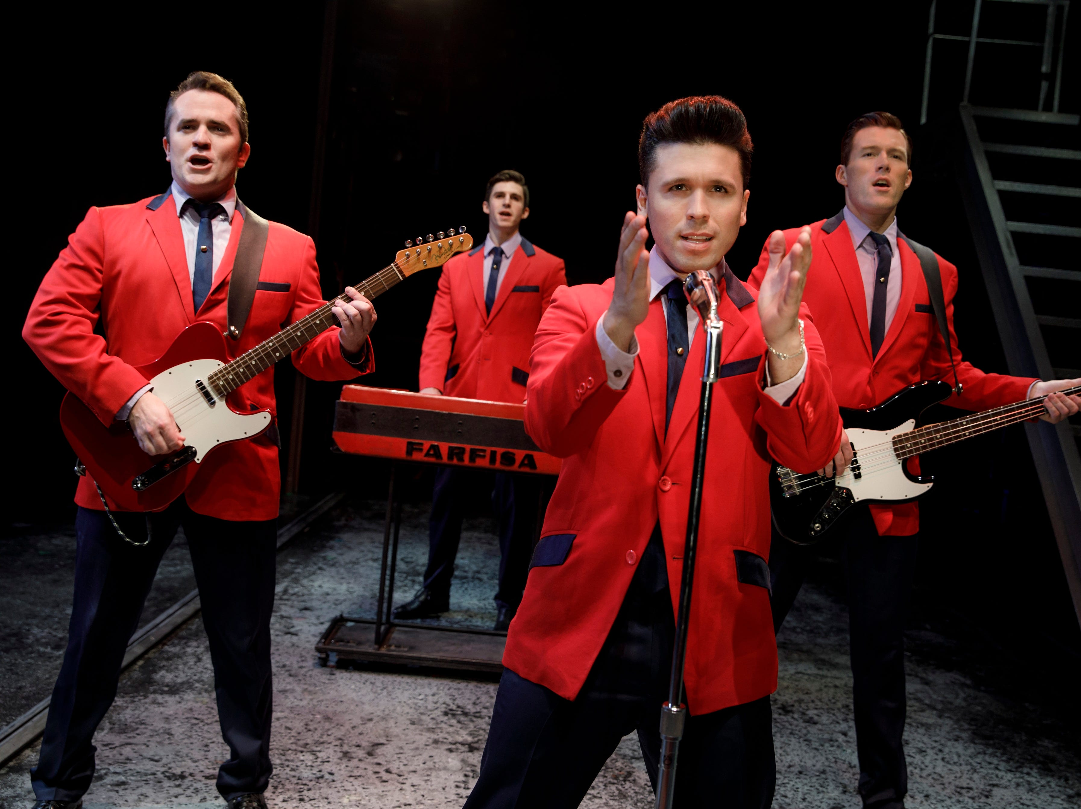 """""""Jersey Boys"""" chronicles the musical ascent of The Four Seasons. The show, which is a season option in Broadway in Cincinnati's 2019-2020 season, stars, from L, Corey Greenan, Eric Chambliss, Jonny Wexler and Jonathan Cable."""