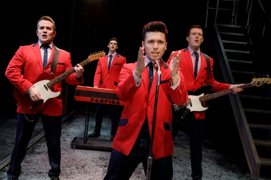 """Jersey Boys"" chronicles the musical ascent of The Four Seasons. The show, which is a season option in Broadway in Cincinnati's 2019-2020 season, stars, from L, Corey Greenan, Eric Chambliss, Jonny Wexler and Jonathan Cable."