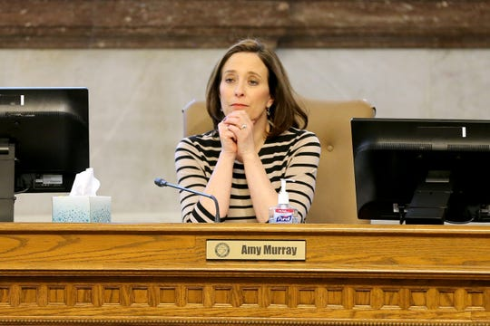 Cincinnati City Councilmember Amy Murray listens to public comments, Wednesday, March 13, 2019, in council chambers at Cincinnati City Hall.
