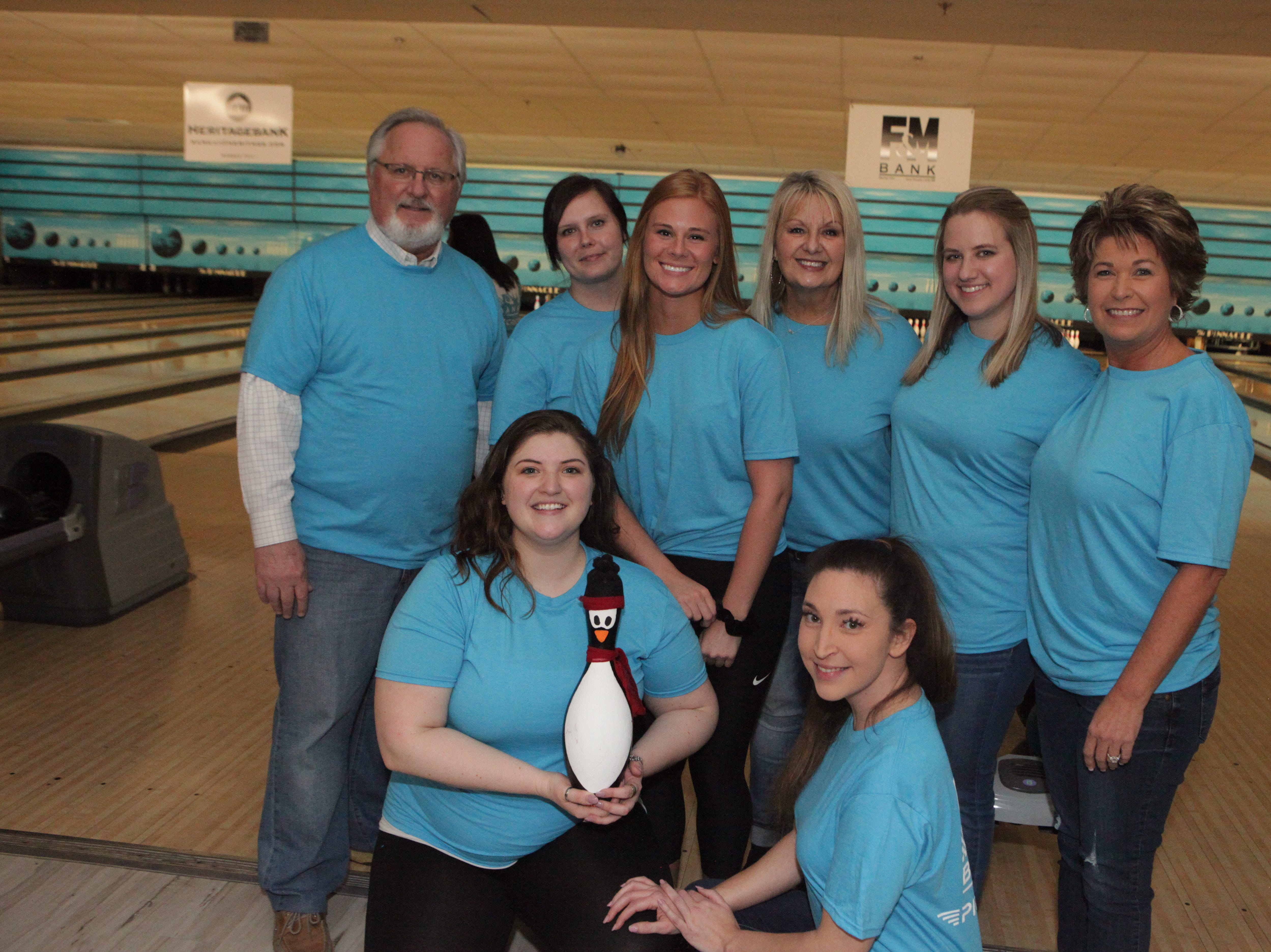 F&M Bank's Sango branch raised more than $3,050 for the Big Brothers Big Sisters 2019 Bankers Challenge at the Pinnacle Family Entertainment Center on Tuesday, March 12, 2019.