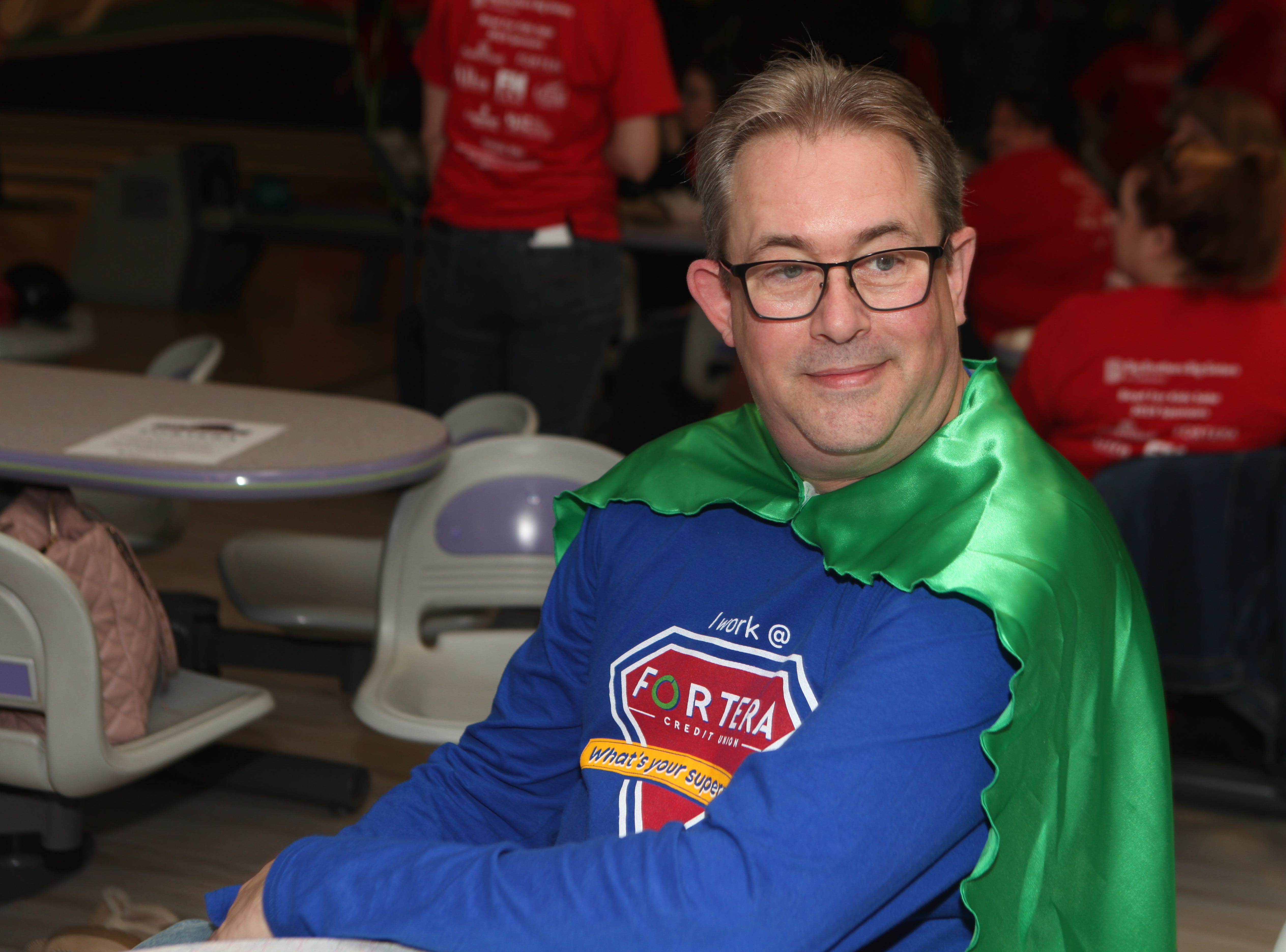 Fortera's Brad Reuvers bowled like a superhero at the Big Brothers Big Sisters 2019 Bankers Challenge at the Pinnacle Family Entertainment Center on Tuesday, March 12, 2019.