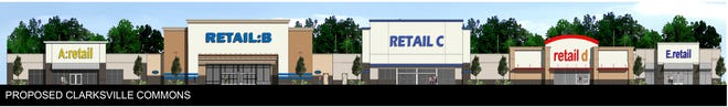 A rendering shows the planned retail redevelopment of Clarksville Commons, once anchored by Kmart.
