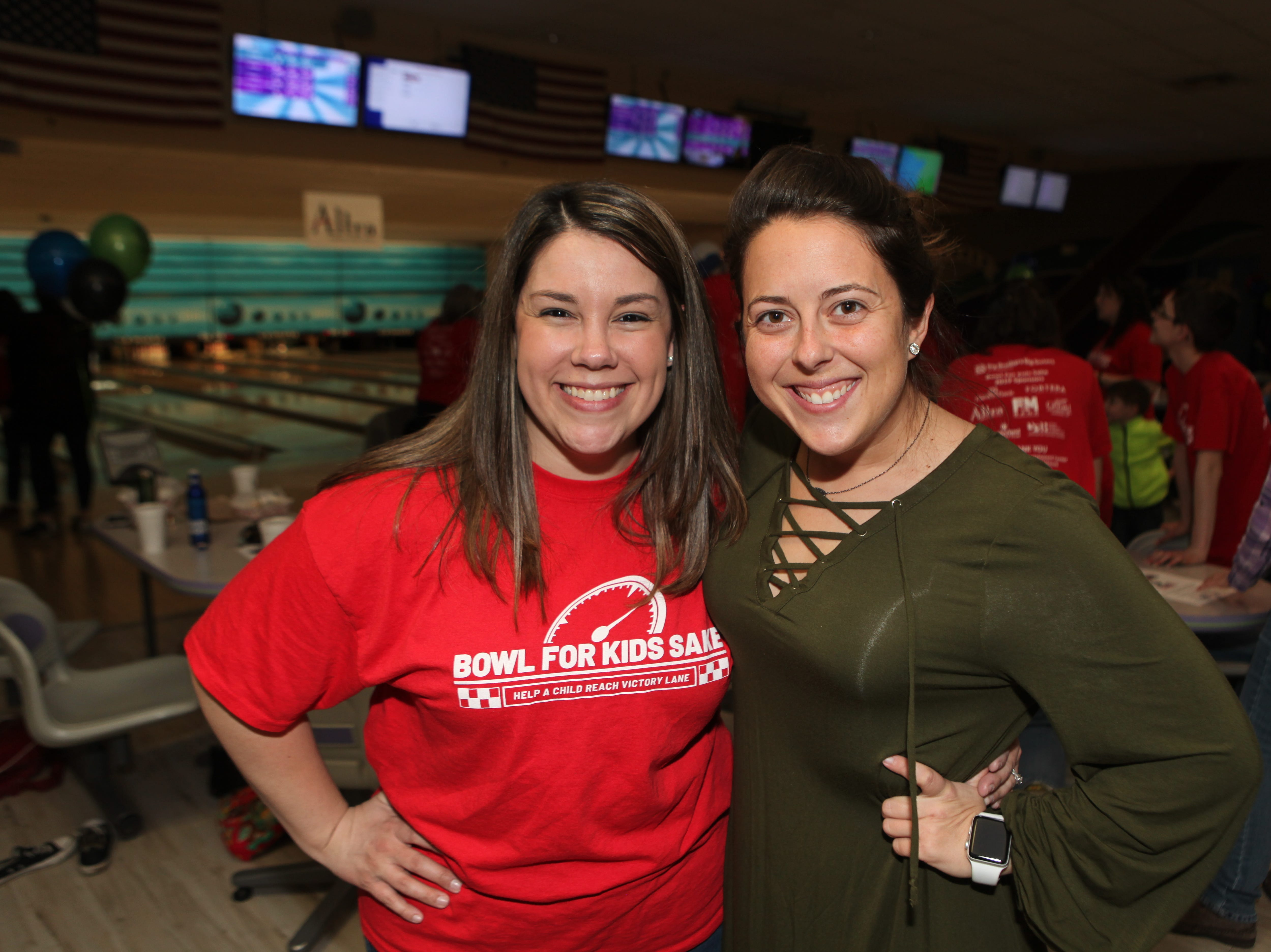 Jennifer Semrau and Paula Atkins at the Big Brothers Big Sisters 2019 Bankers Challenge at the Pinnacle Family Entertainment Center on Tuesday, March 12, 2019.
