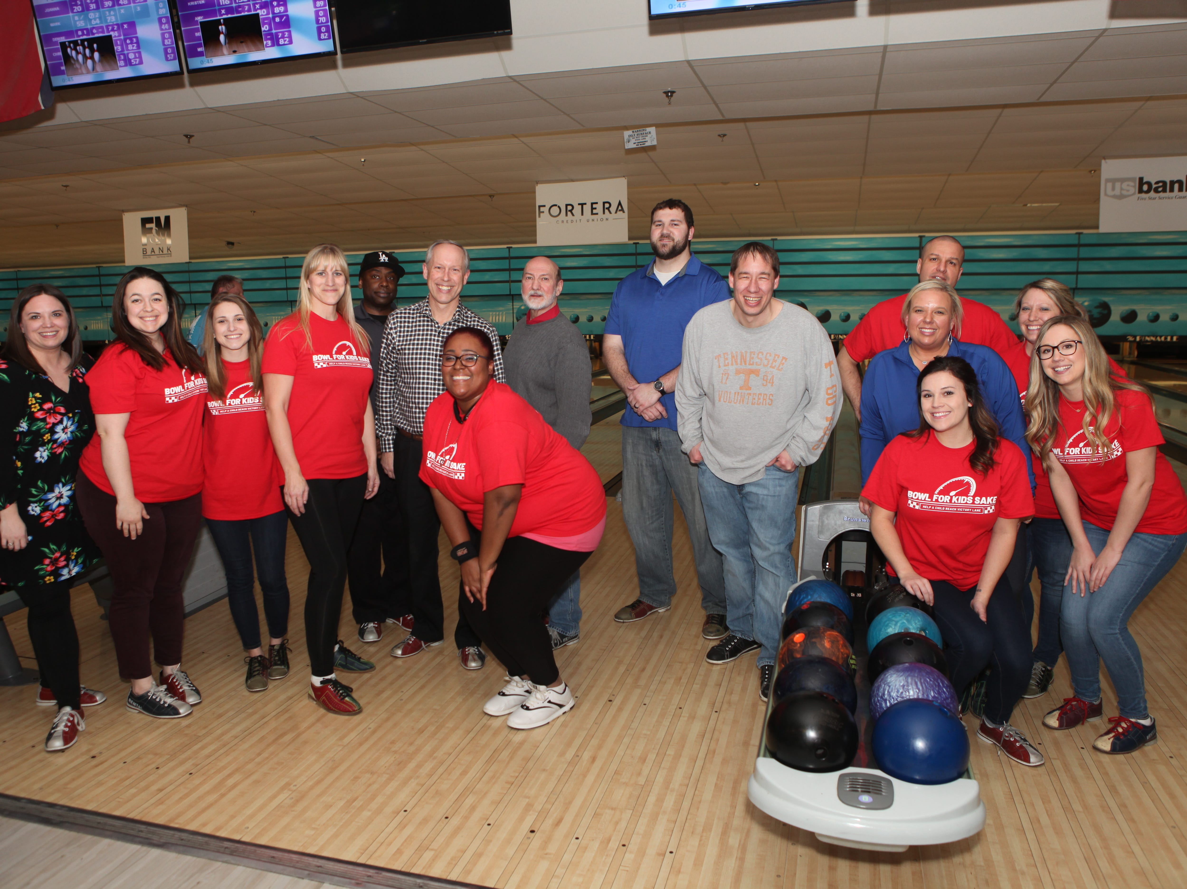 US Bank team members at the Big Brothers Big Sisters 2019 Bankers Challenge at the Pinnacle Family Entertainment Center on Tuesday, March 12, 2019.
