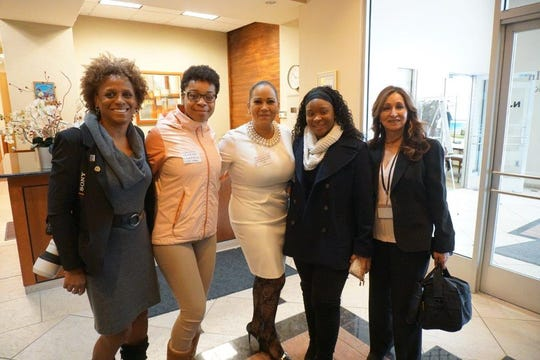 Left to right: Plainfield Representatives w SDA CEO Lizette Delgado Polanco. L-R BOE Member Carmencita Pile, Ajaleen Frazier (PAAAS), SDA CEO Lizette Delgado Polanco, Deniesha Green, (PHS), Gloria Montealegre, PPSD Community Engagement Liaison