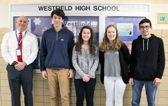 Four Westfield High School students earned perfect scores on sections of the February 2019 ACT. Pictured here with Westfield High School assistant principal James DeSarno are Left to right: Henry Meiselman (Science & STEM), Abbey Zidel (English), Brianna Weber (Reading), and Jacob Rock (English & Reading).