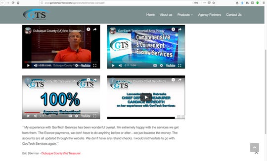 This screenshot shows video links to testimonials on the website for GovTech Services, which most Iowa counties have partnered with to collect property and motor vehicle taxes. Two Iowa county treasurers, including Dubuque County Treasurer Eric Stierman, upper left, recently vacationed with the businessman who runs the website at his Florida beach property for free in an apparent violation of state ethics law.