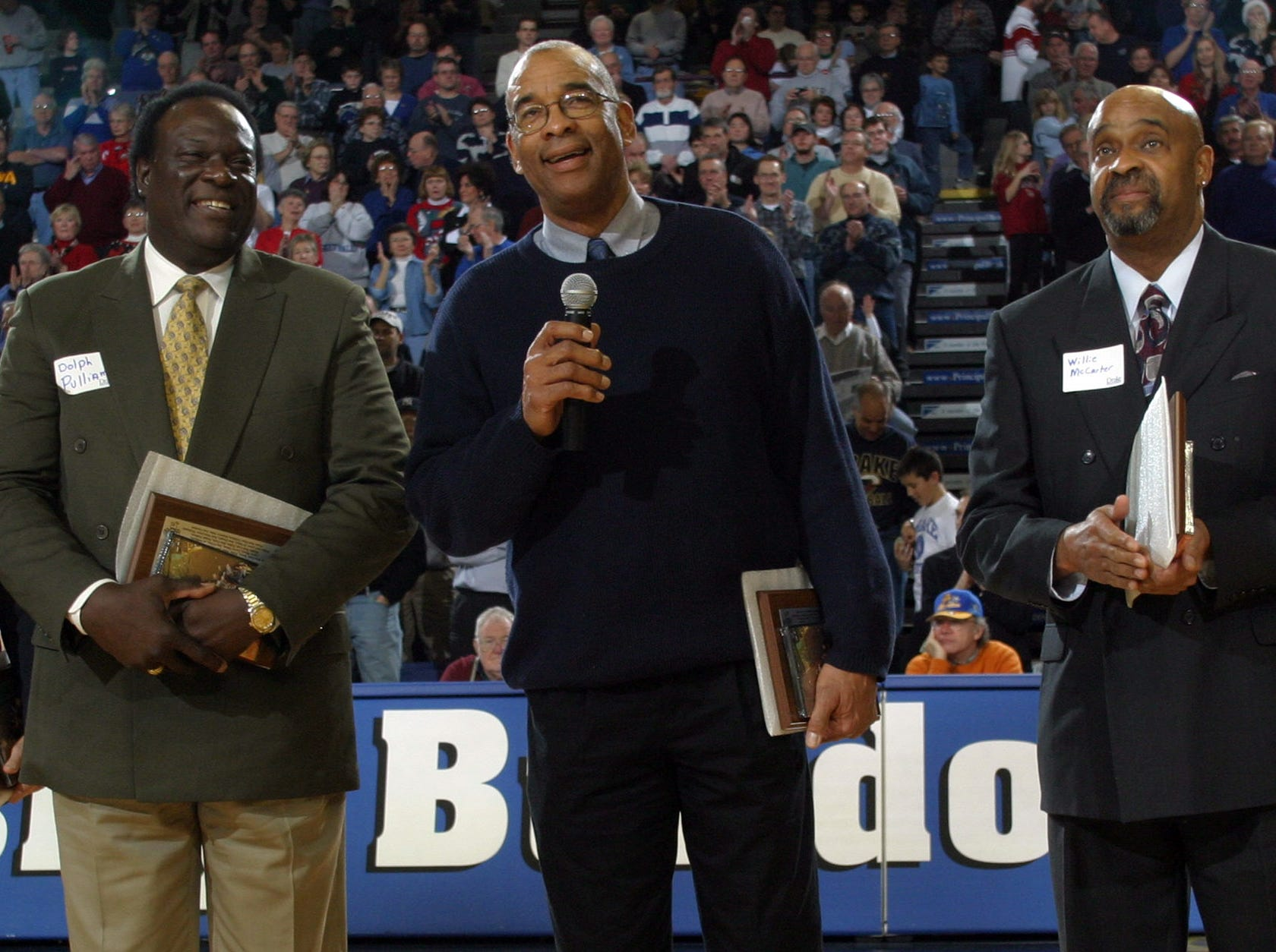 From Left, Dolph Pulliam, Willie Wise and Willie McCarter during a 2003 reunion of Drake University's 1969 Final Four team.