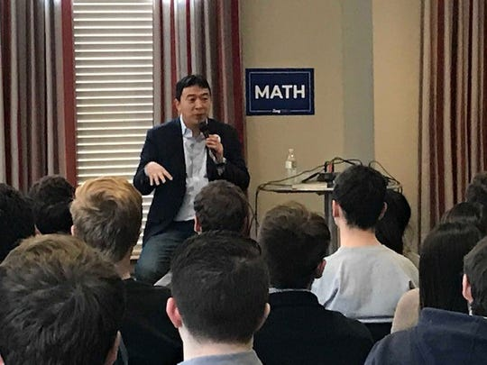 Presidential Candidate Andrew Yang speaking to Drake University Theta Chi Fraternity says he's the opposite of Donald Trump:  I'm an Asian man who likes math.