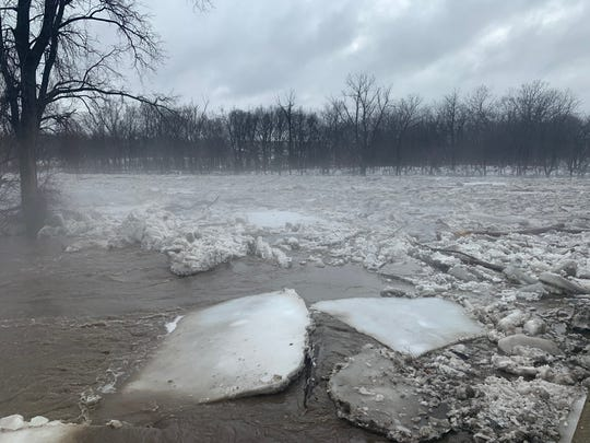 A look at the ice-jammed South Raccoon River near De Soto on Wednesday, March 13, 2019.