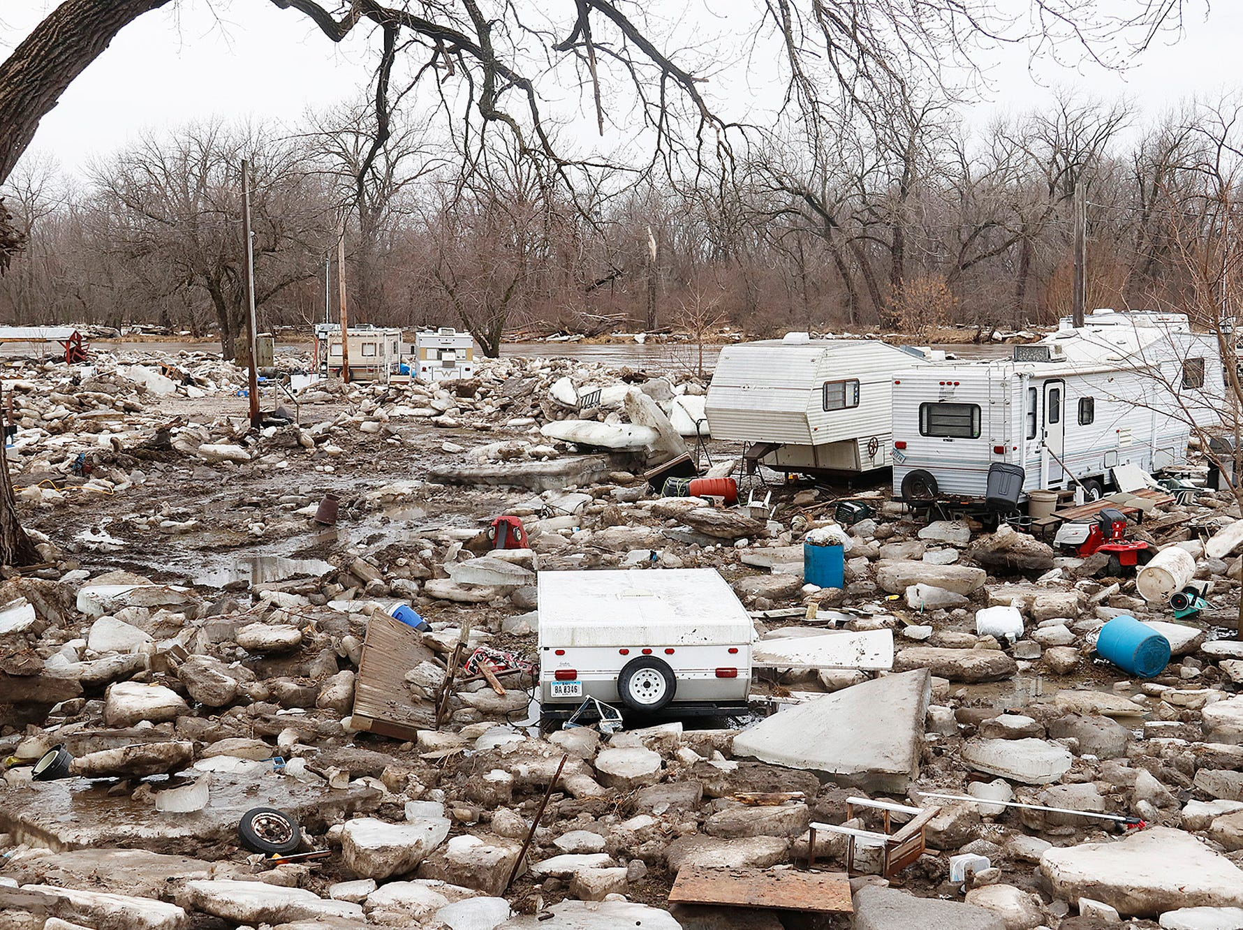 An ice jam built up on the Des Moines River at Ottumwa, Iowa, on Monday, March 12, 2019, and the damage was still evident a day later. The jam caused the river to flood a campground on the city's west side.