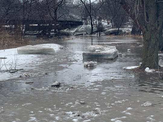 One Redfield resident had ice chunks as big as mattresses left in his yard after an ice jam broke in the Raccoon River on Wednesday March, 13, 2019.