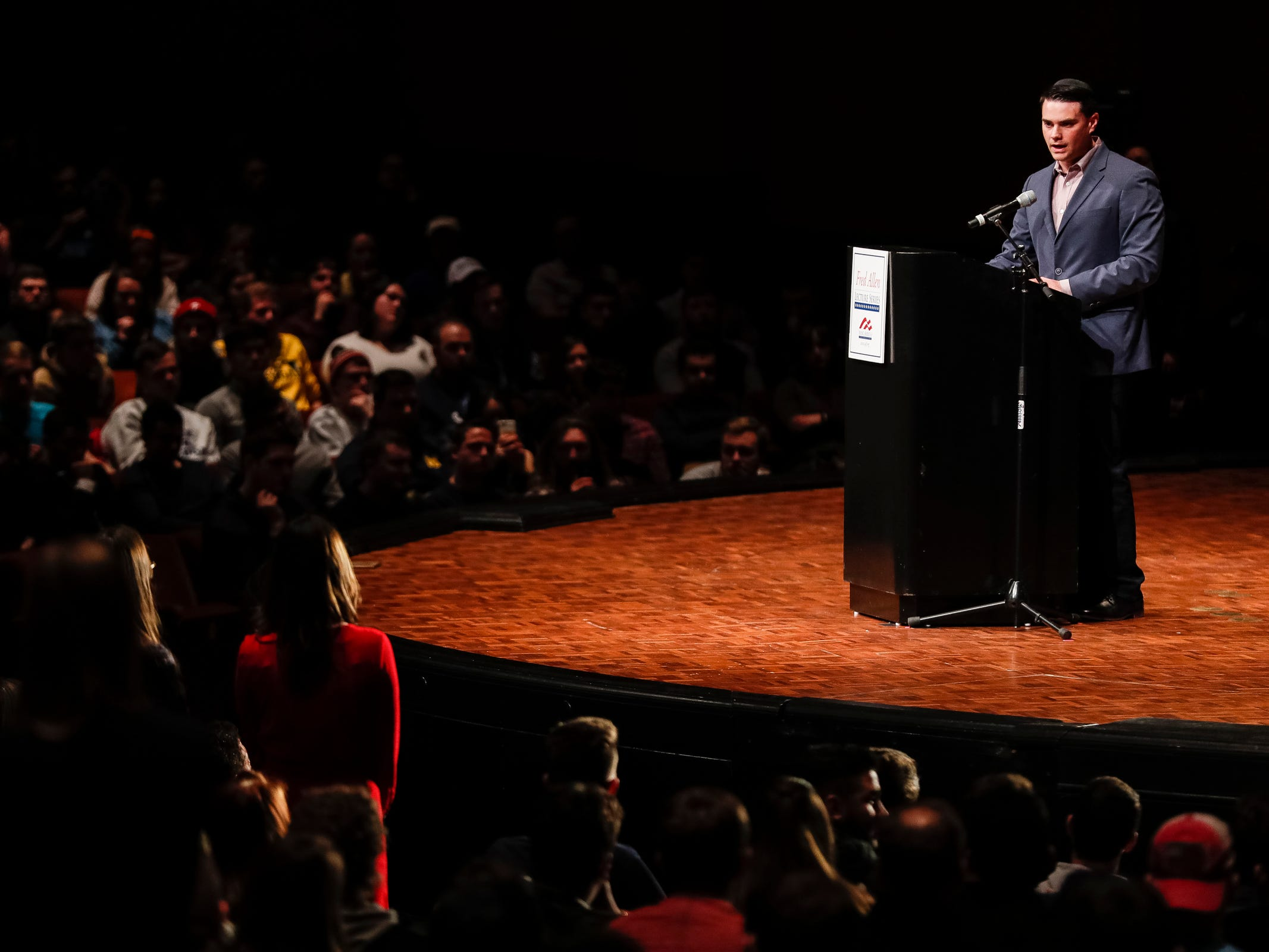 Ben Shapiro answers a student's question at the Rackham Auditorium on U-M central campus in Ann Arbor, Tuesday, March 12. , Tuesday, March 12, 2019.