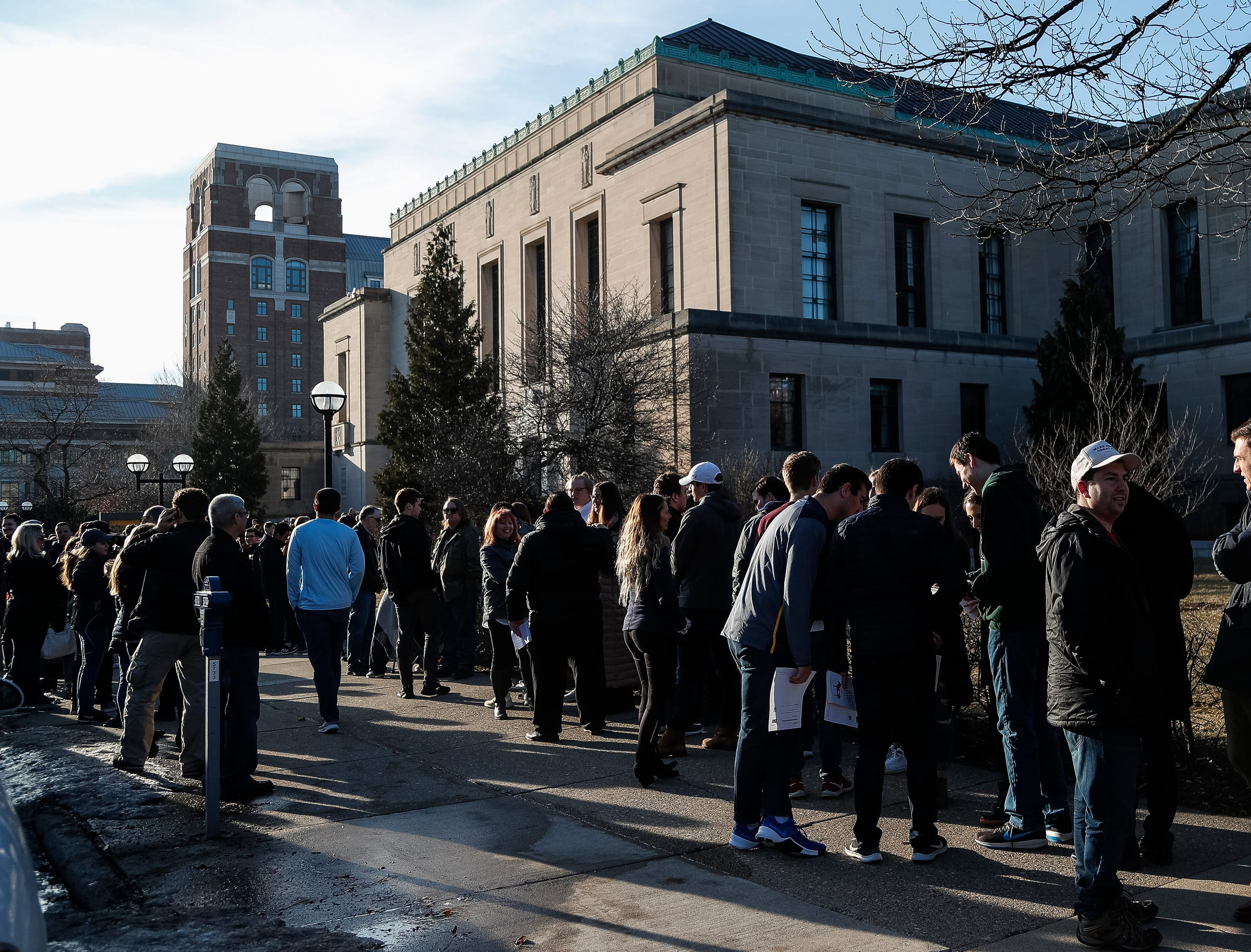 Hundreds line up outside of the Rackham Auditorium on U-M central campus in Ann Arbor to attend Ben Shapiro's speech, Tuesday, March 12. , Tuesday, March 12, 2019.