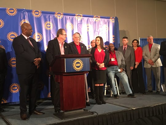 UAW officials meet with reporters on March 13, 2019, at Cobo Center in Detroit at the union's special bargaining convention. Pictured from left to right: Secretary-Treasurer Ray Curry, President Gary Jones, and vice presidents Terry Dittes (top negotiator with GM), Cindy Estrada (top negotiator for FCA) and a seated Rory Gamble (top negotiator for Ford).