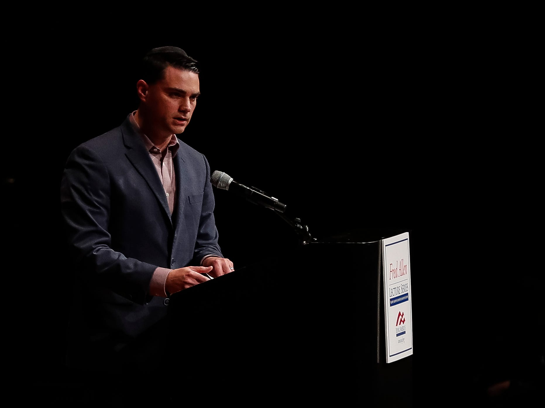 Ben Shapiro speaks at the Rackham Auditorium on U-M central campus in Ann Arbor, Tuesday, March 12. , Tuesday, March 12, 2019.