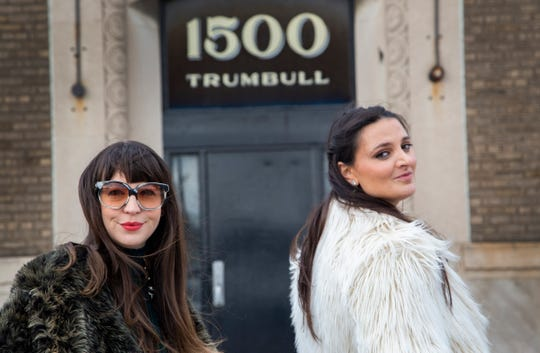 Bridget Finn, left, and Terese Reyes are the new owners and directors of the Reyes Finn gallery in Corktown. They pose outside of their new space on Trumbull in Corktown Monday, March 4, 2019.